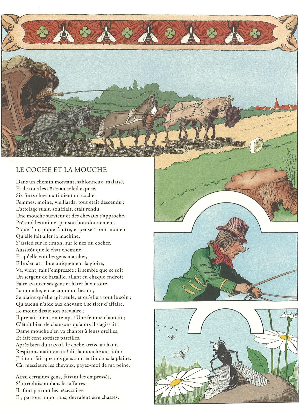 La Mouche Et Le Coche : mouche, coche, Coche, Mouche, (Jean, Fontaine,, Illustrations, Benjamin, Rabier,, 1906)