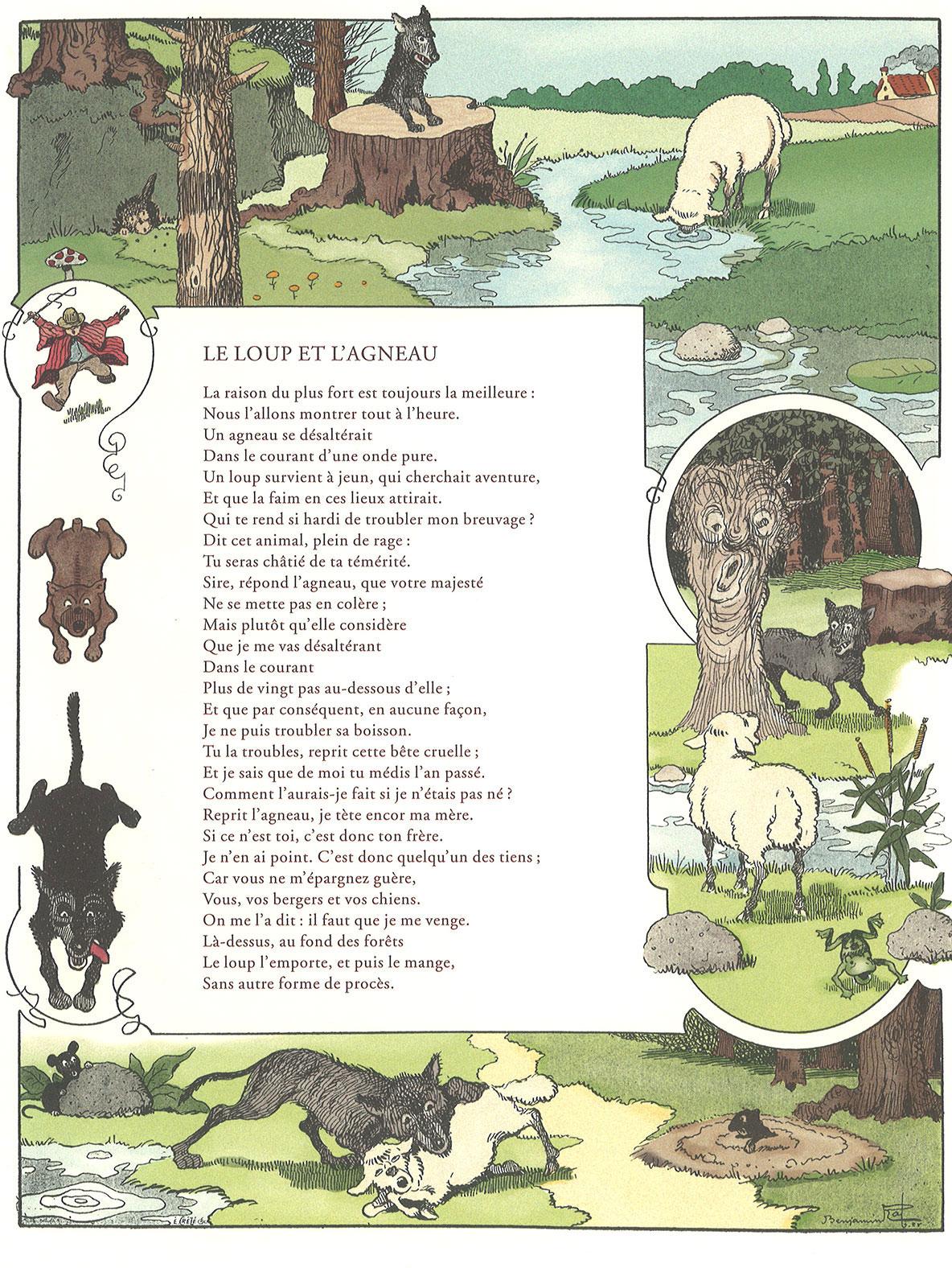 Jean De La Fontaine Le Loup Et L'agneau : fontaine, l'agneau, L'Agneau, (Jean, Fontaine,, Illustrations, Benjamin, Rabier,, 1906)