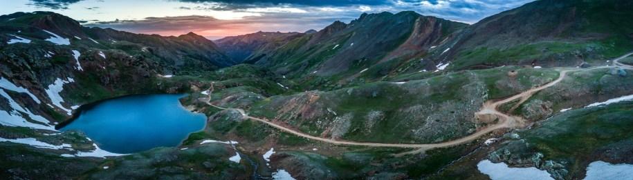 Colorado, USA Lake Como Panorama after Sunset - Poughkeepsie Pass, San Juan Mountains off Engineer Pass,