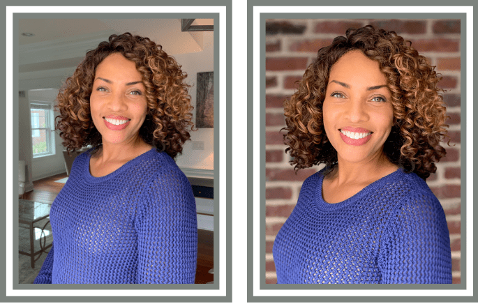 before and after headshot example of a woman