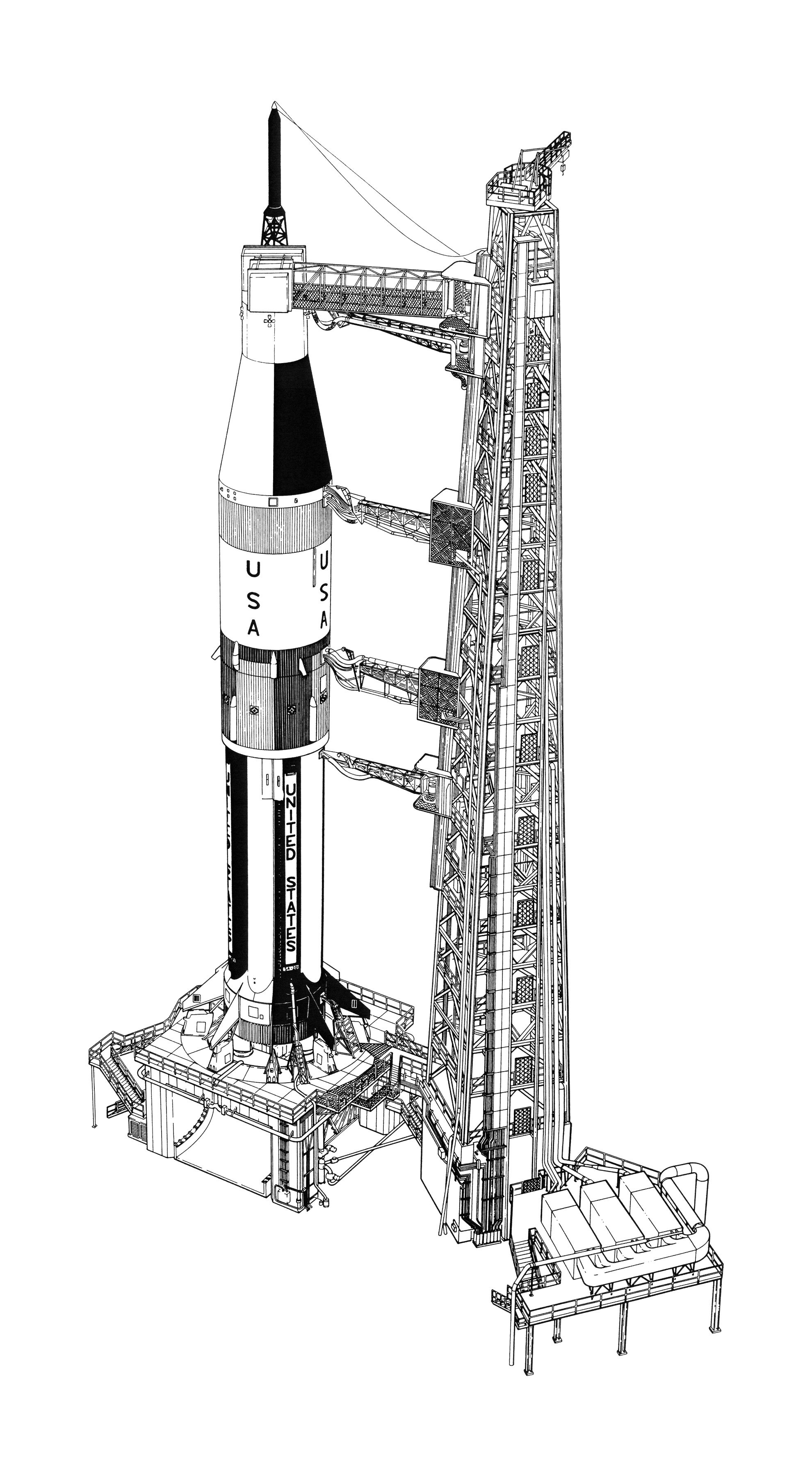 Saturn V Rocket Sheets Coloring Pages