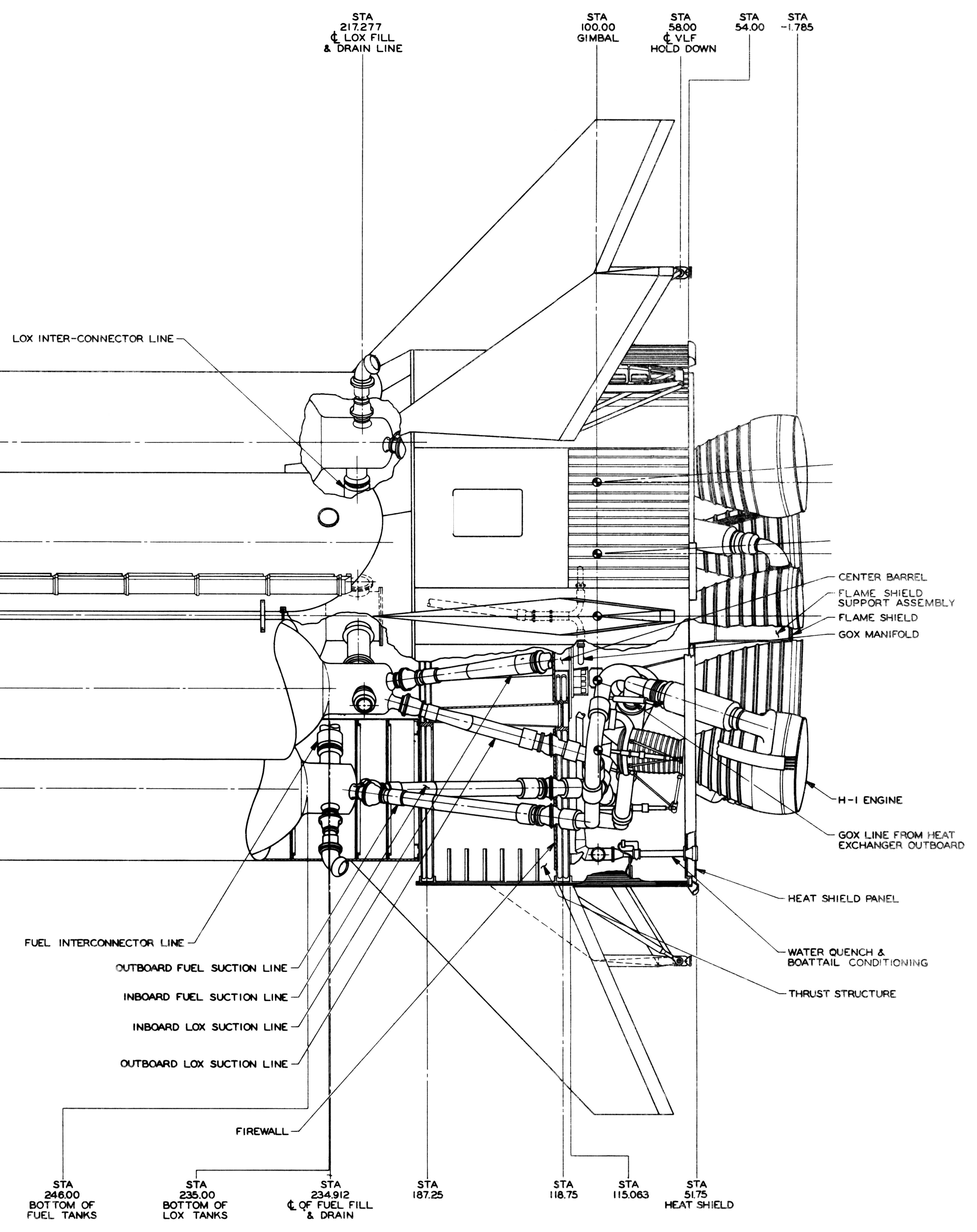 Saturn I Ib H 1 Rocket Engine Wraparound Suction Lines