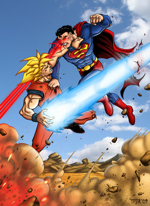 Goku vs Superman kame hame ha versus visão de calor