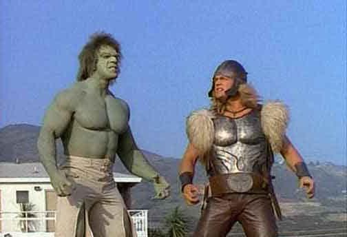 Hulk e Thor antigo seriado Os Vingadores