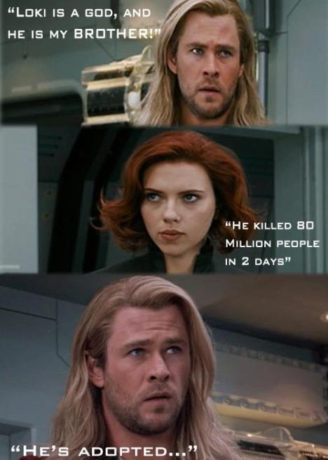 Thor e Viuva negra loki adotado