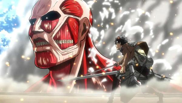 Shingeki no Kyojin Attack on Titan Titã Colossal e Eren se encarando