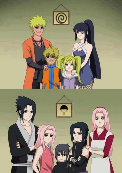 Naruto e Sasuke adultos com filhos