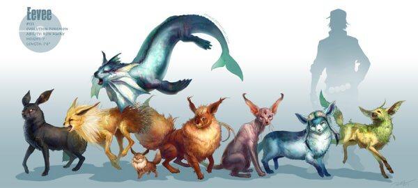 eevee evolutions pokemons monstros