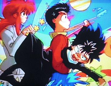 Eizou Hakusho Hiei sendo agarrado por Yusuke e Kurama
