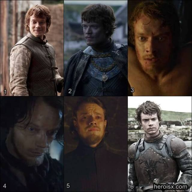 Theon Greyjoy Temporadas 1 a 6 Game of Thrones antes e depois