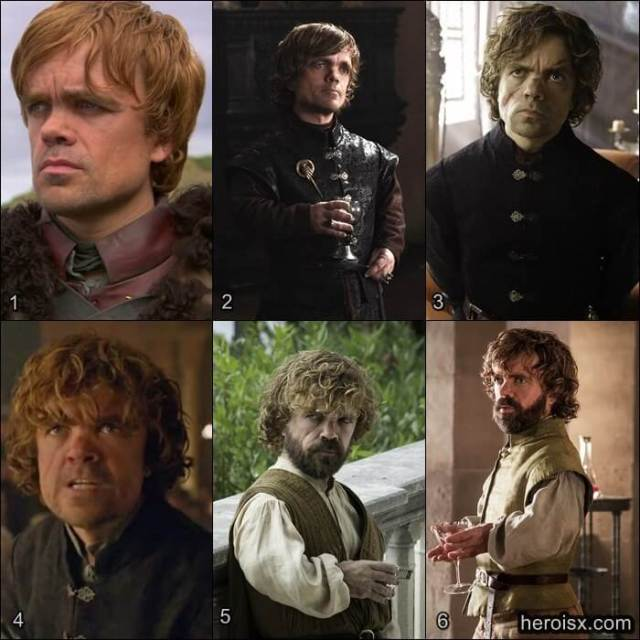 Tyrion Lannister Temporadas 1 a 6 Game of Thrones antes e depois