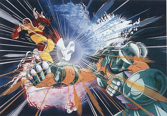 Seiya de Pegaso vermelho contra Shiryu de Dragão anime Cavaleiros do Zodíaco