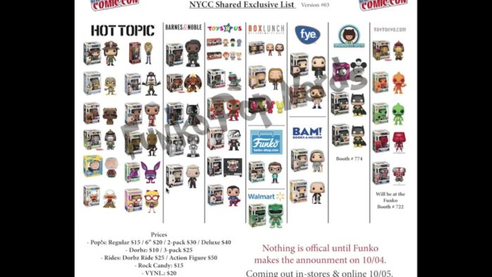 NYCC 2017 Funko Pop Exclusives
