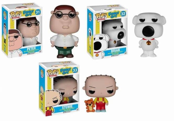 Family Guy Funko Pop Peter, Brian and Stewie Griffin