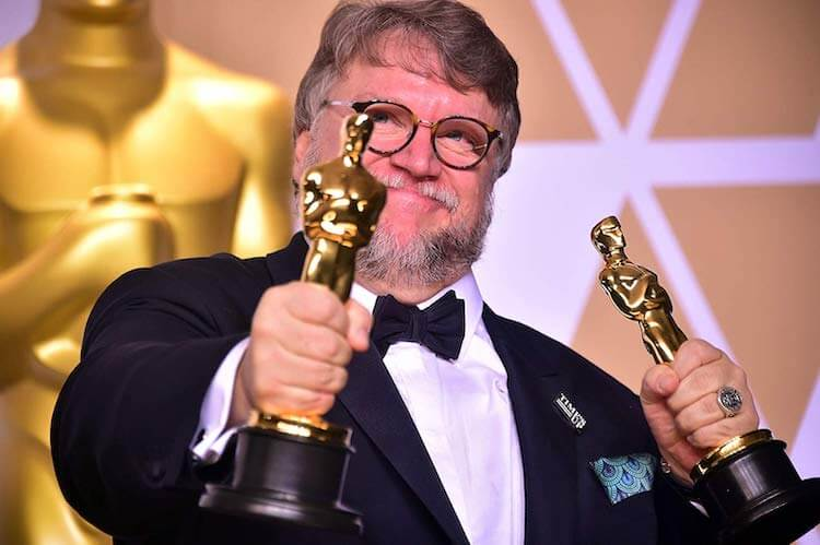 Guillermo del Toro with his Oscars, Academy Awards 2018
