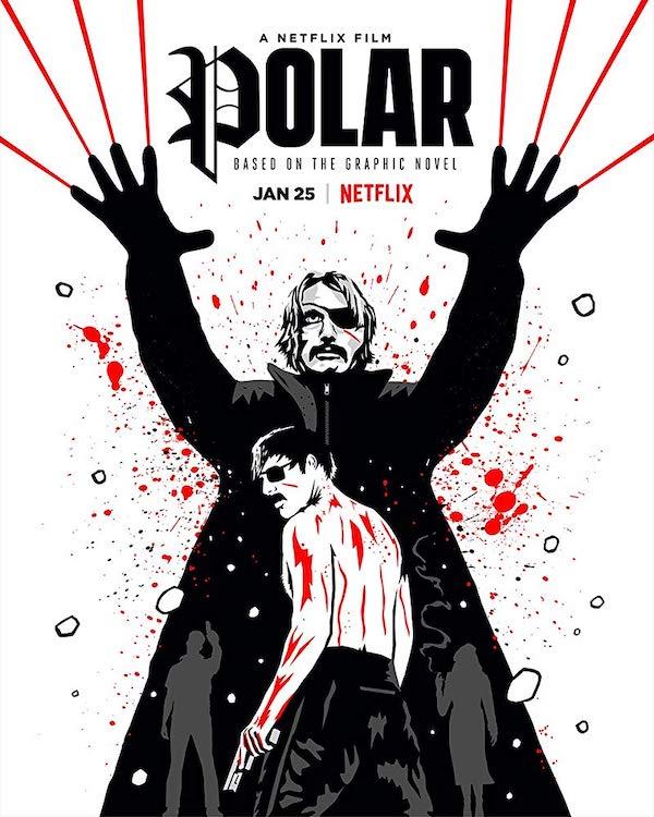 Netflix Polar poster starring Mads Mikkelsen Vanessa Hudgens