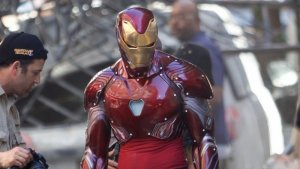 Iron Man's suit in Avengers Infinity War set photo