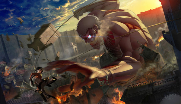 Attack on Titan season 2 Armor titan and Mikasa