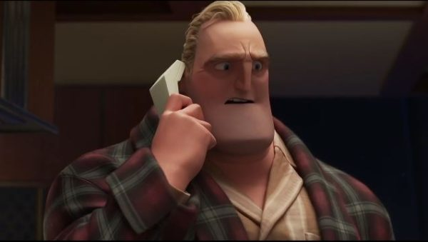 Bob Parr talks to Winston Deavor over a phone