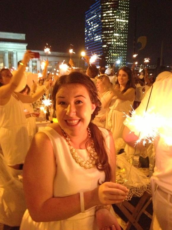 Emily Tharp lighting sparklers at #DEBPHL13 // Her Philly