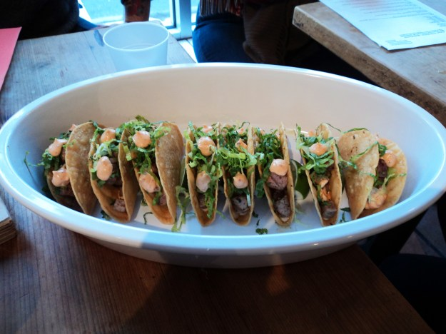 Tuna tacos with spicy mayo from Ippolito's Seafood // Her Philly