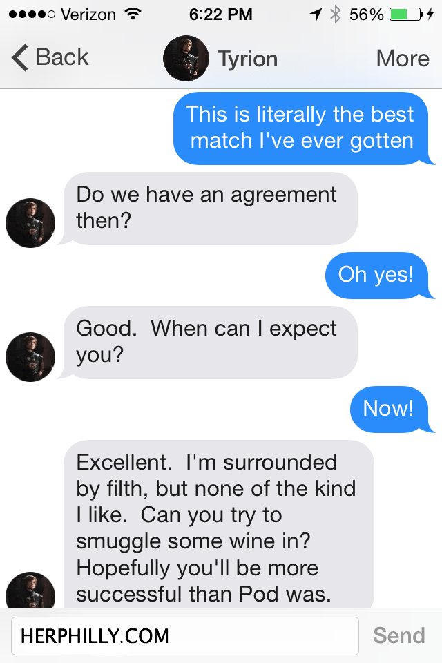 Chatting with GOT Characters on Tinder  // Her Philly