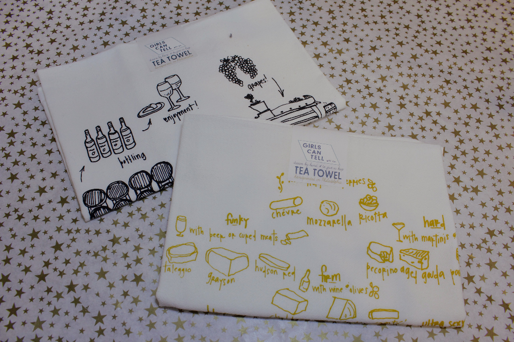 Girls Can Tell Wine + Cheese Tea Towels