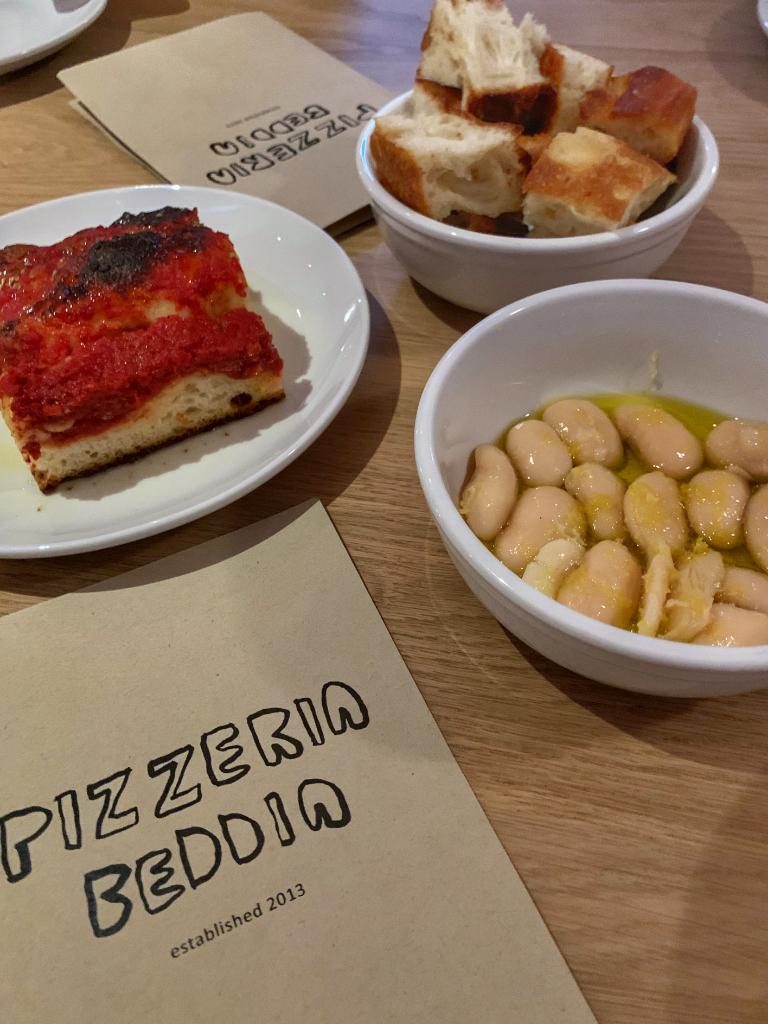 Tomato pie and beans at pizzeria beddia 2