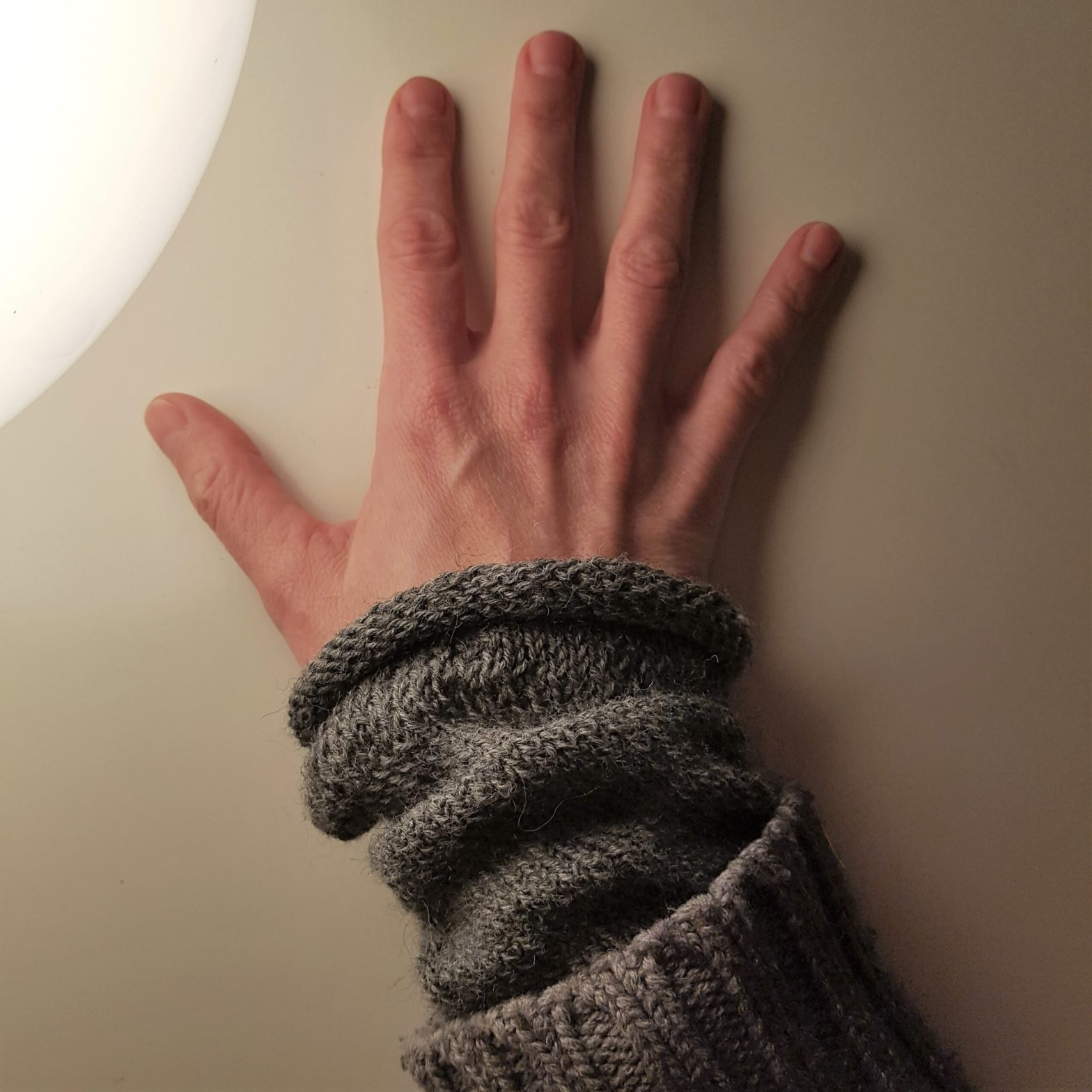 my new, old upcycley cardigan with hand warmers
