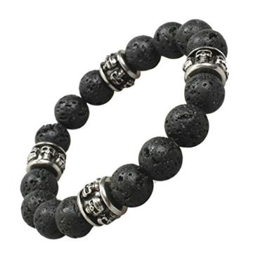 Aooaz Schmuck Herren ArmbandKlassiker Perlen Vulkan Stein Totenkopf Schdel Retro Lava Armband