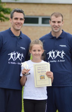 Under 9's Sports woman of the year…Abigail This person has tried their hand at everything this year she always shows resilience and is eager to learn new skills. Quite often going home and practising new sports to improve her game. She too has had success competing above her age group representing school in both netball and sportshall athletics. She always shows the upmost respect for all involved and has the determination needed to become a complete all-rounder.