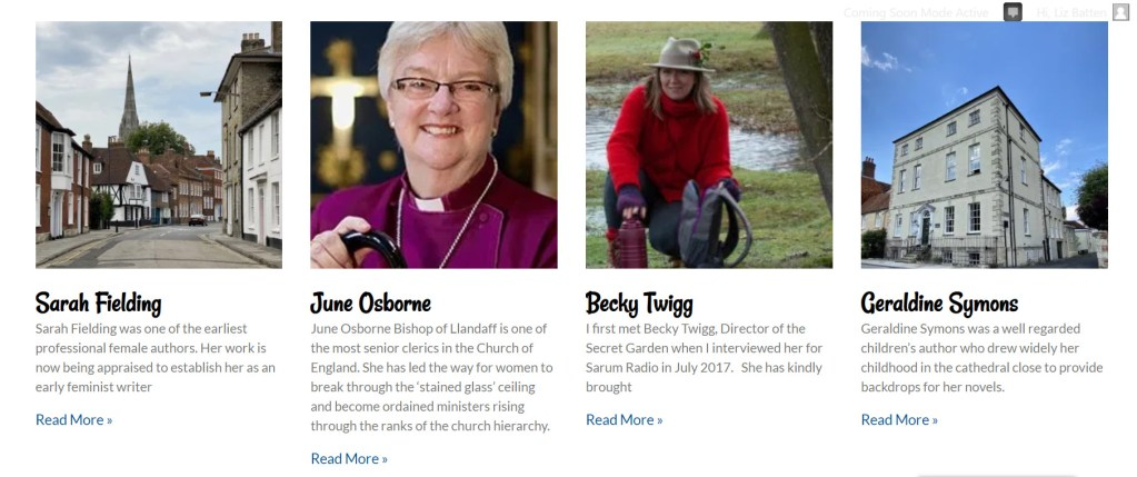 Screen shot of the website contemporary women page