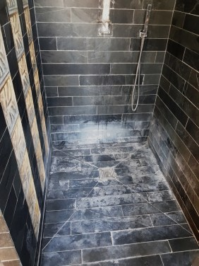 Slate Tiled Bathroom EnSuite Stevenage Before Cleaning