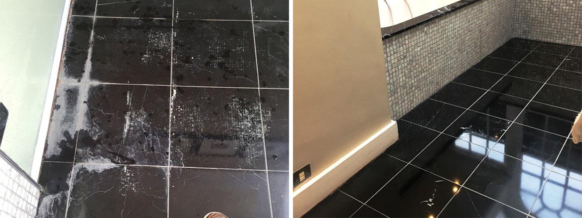 polished black marble floor tiles