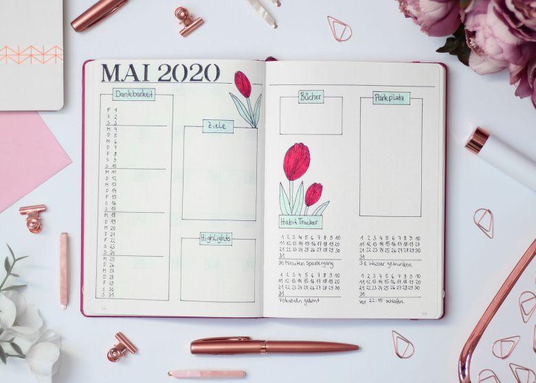 Bullet Journal Monthly Spread Mai Boxen