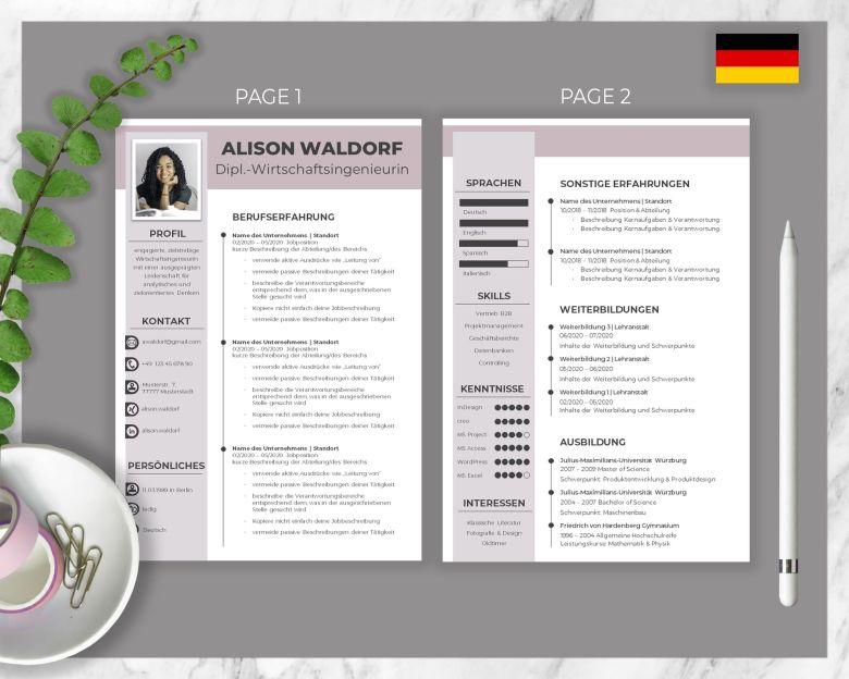Bewerbungsvorlage Alison Waldorf