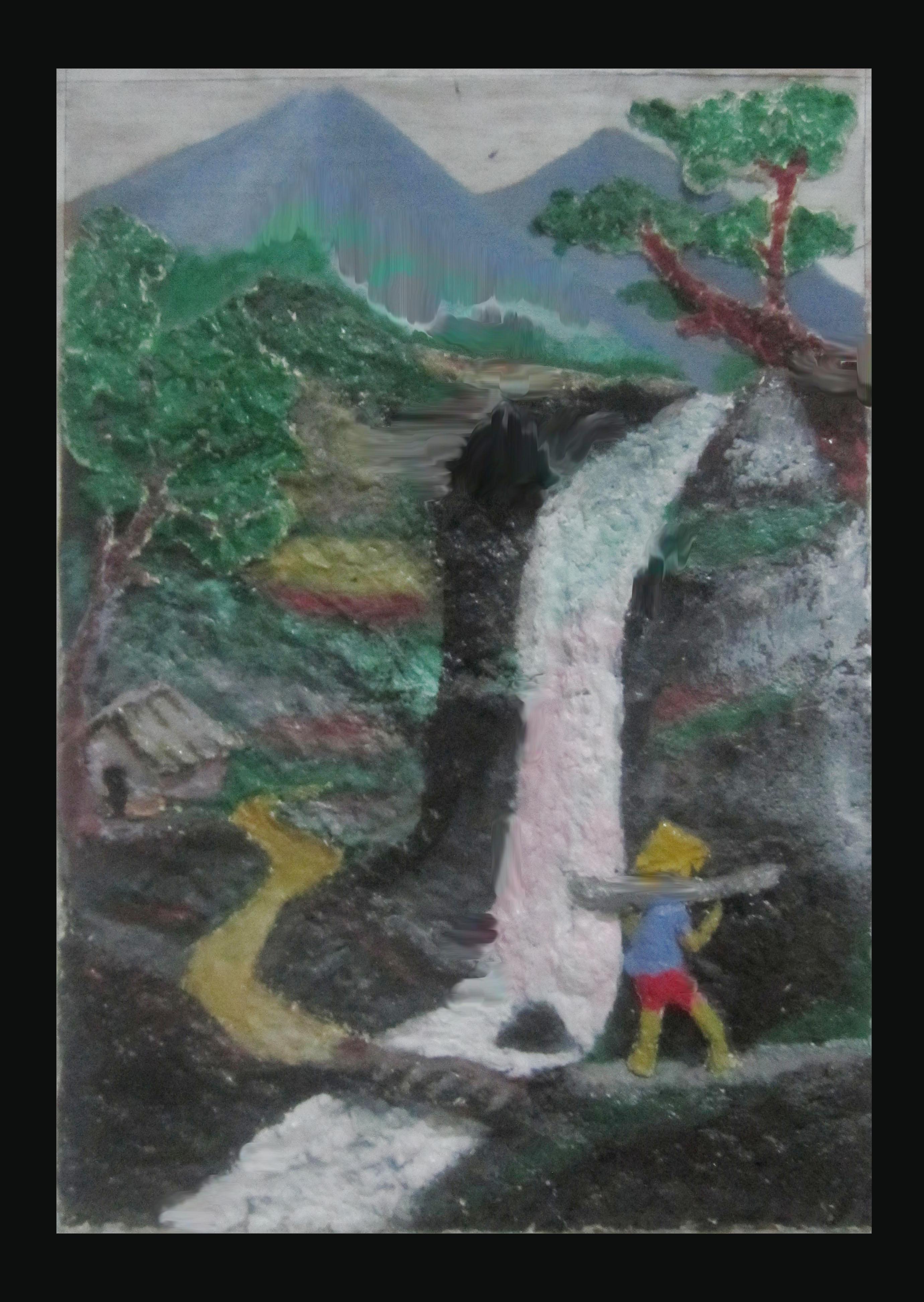 Lukisan Dari Bubur Kertas : lukisan, bubur, kertas, Lukisan, Terjun, Herycraft