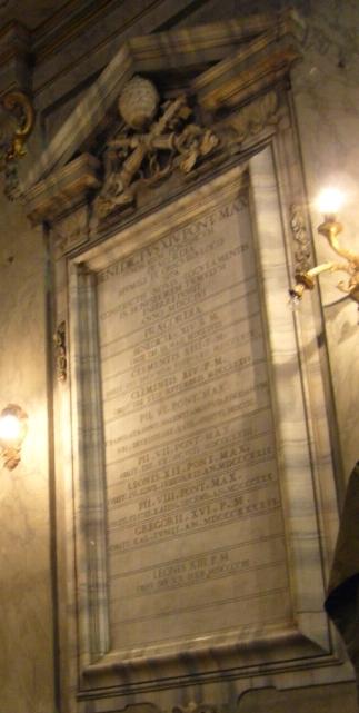 Enterotaph der Praecordia der Päpste in San Vincenzo e Anastasio in Rom