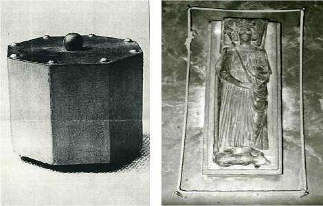 Gîsant des Herzgrabes (r.) und Herzkapsel Kaiser Heinrichs III. in der Kaiserpfalz Goslar