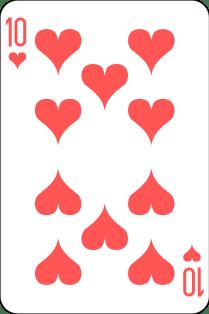 Spielkarte Herz 10