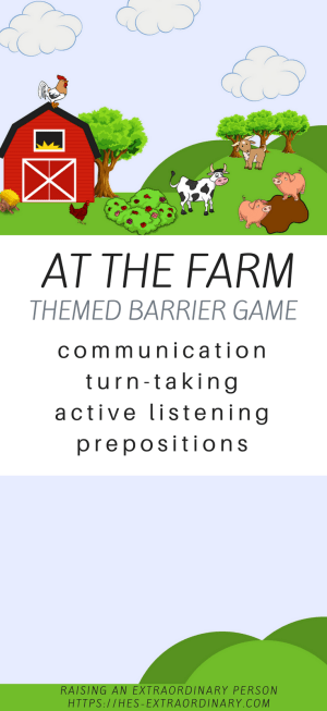 At The Farm: Themed Barrier Game - Practice communication, turn taking, active listening, prepositions, and more