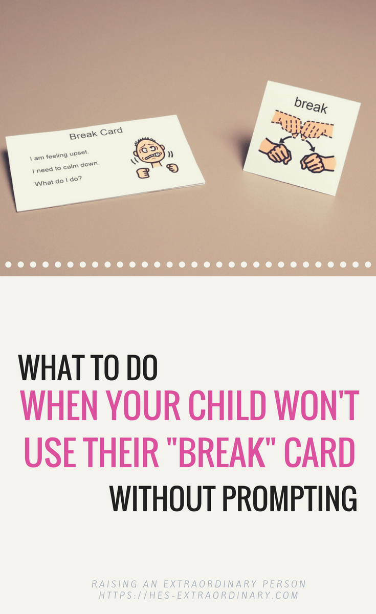 What to do when your child won't use their break card without prompting - Try this behavior management strategy instead #SocialSkills #LifeSkills #VisualSchedules #Autism #AdviceforMoms #AdviceForTeachers #AutismClassroom #SpecialEducation #SelfRegulation