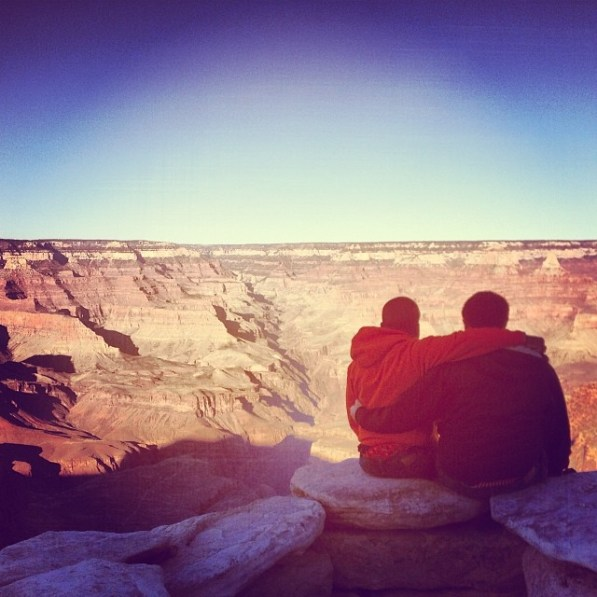 "Exploring the Grand Canyon (south rim) in Arizona, with my ""brother from another mother"", Billy P."