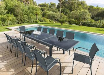 Table Jardin Extensible Hesperide | Table Extensible Azua Noir ...