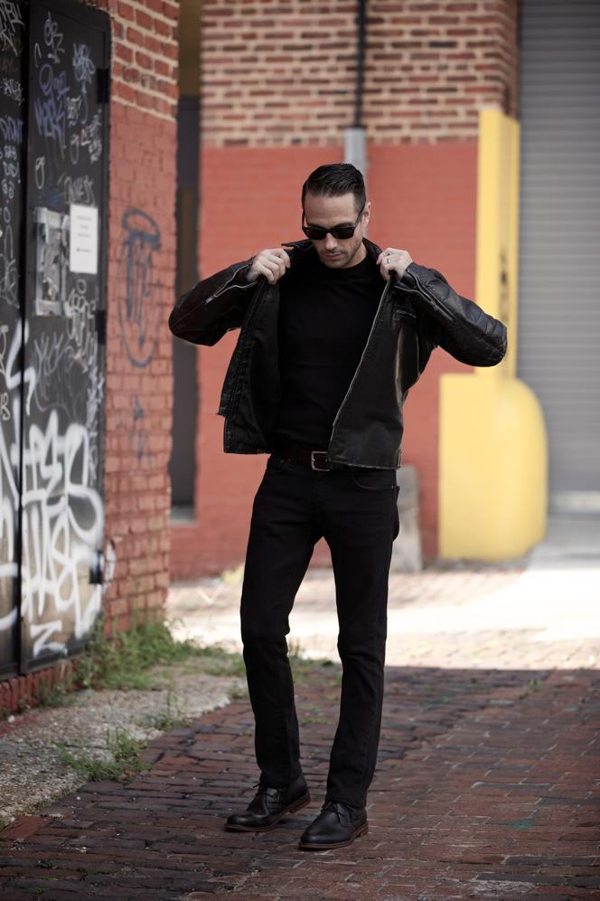 All Black Leather Biker Jacket - He Spoke Style