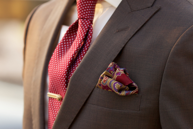 Brown Suit Burgundy Tie Pocket Square Alton Lane - He Spoke Style