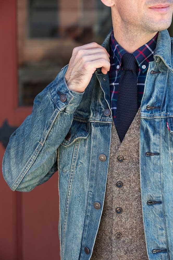 Tweed Waistcoat Denim Jacket - He Spoke Style