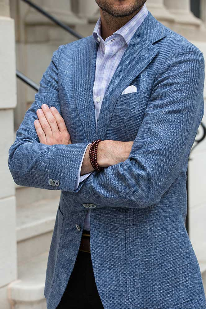 Light Blue Suitsupply Linen Blazer - He Spoke Style