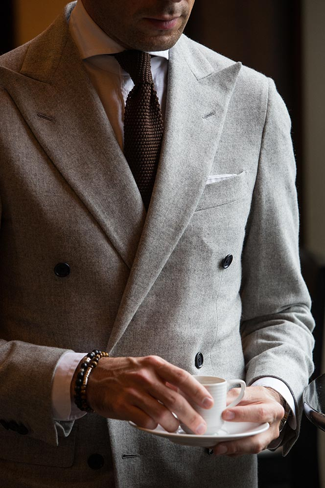 Mens Grey Double-Breasted Blazer Outfit Idea - He Spoke Style