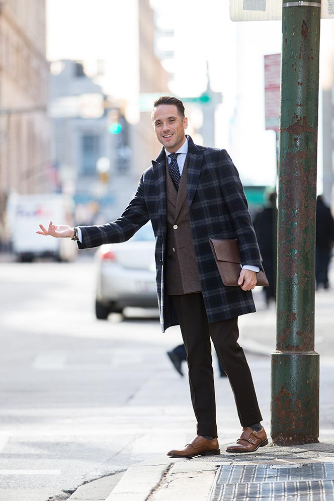 double breasted brown blazer men